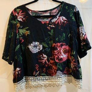 Floral Abercrombie Lace Hem T-Shirt